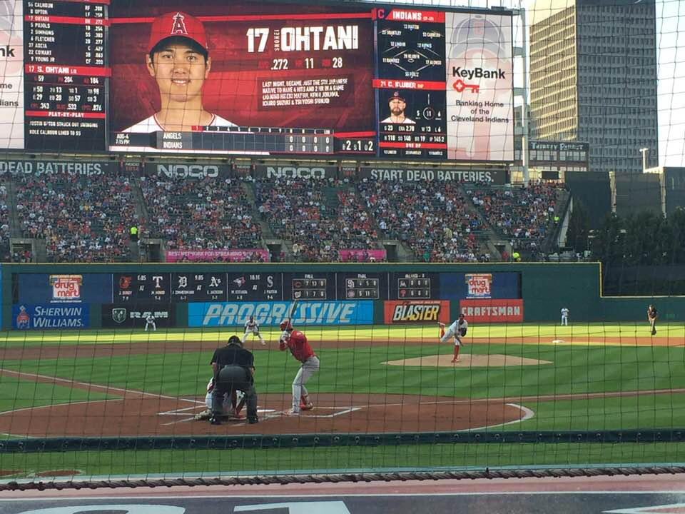 Shohei Ohtani At Bat in Cleveland